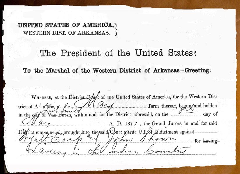 Arrest Warrant Wyatt Earp & John Shown