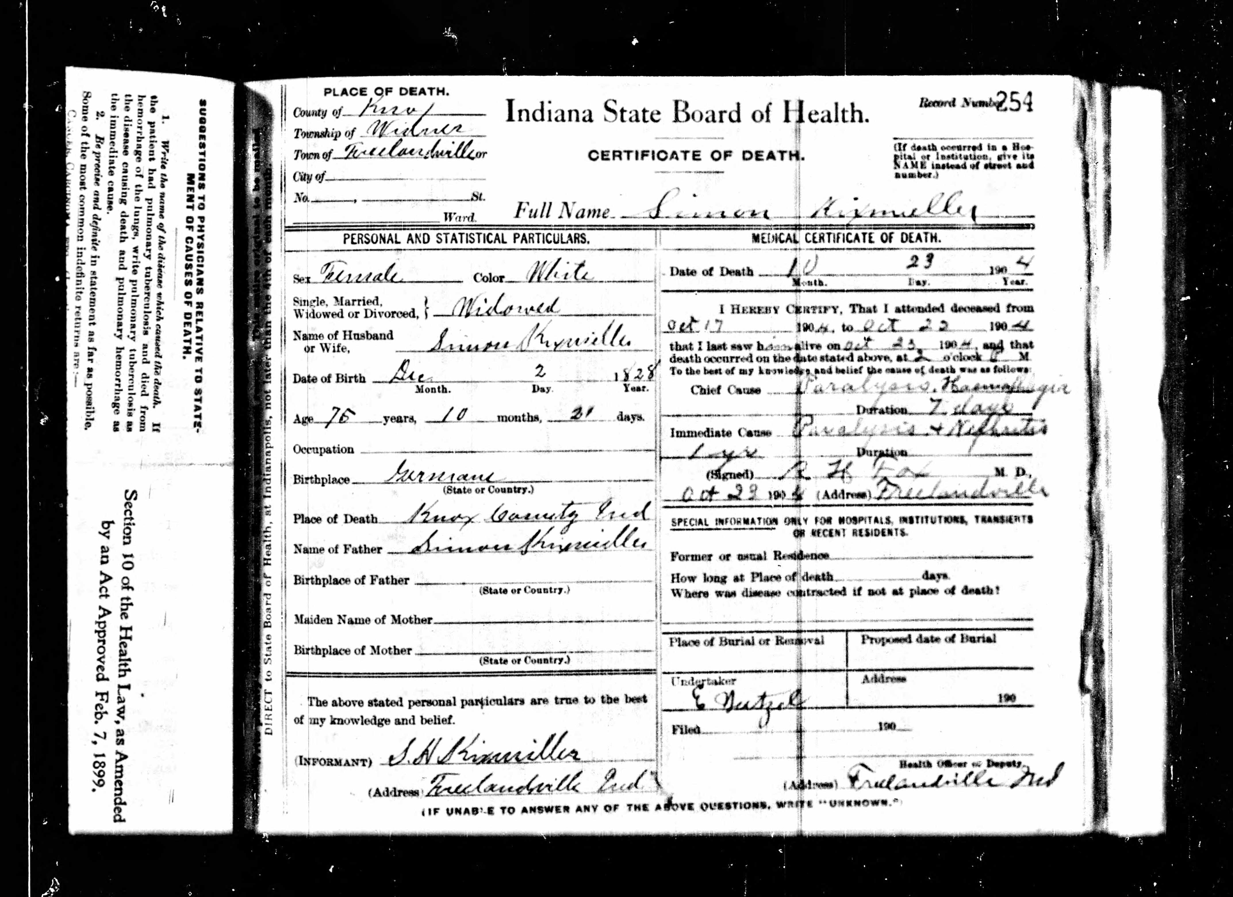 Evidence explained indiana certificate databases at ancestry simon kixmiller 1904 death certificate example aiddatafo Gallery