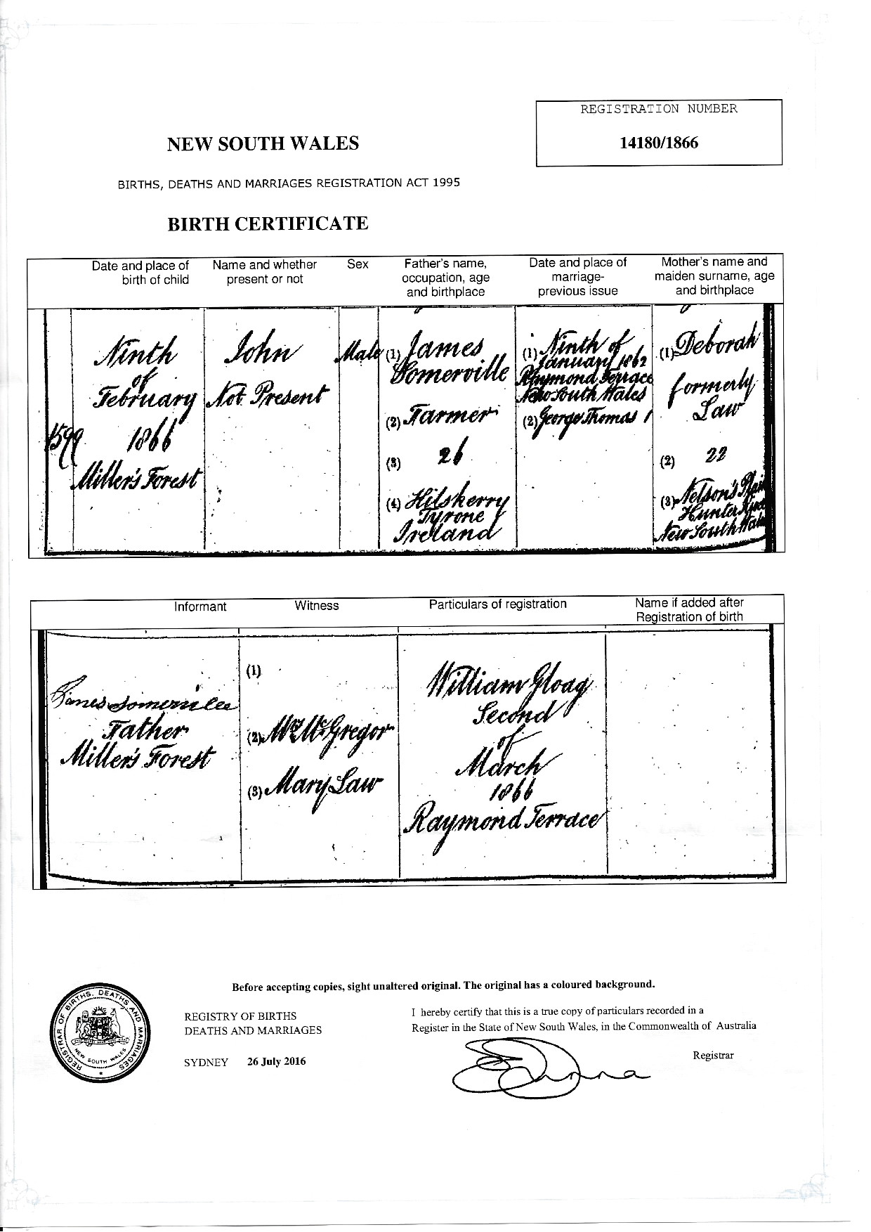 Evidence explained australia new south wales bmd certificates somerville john b1866 millers forest 1866 birth certificate so james somervilledeborah lawg aiddatafo Images