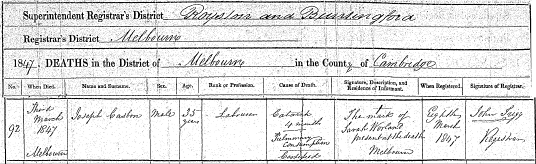 Joseph Casbon death registration 1847
