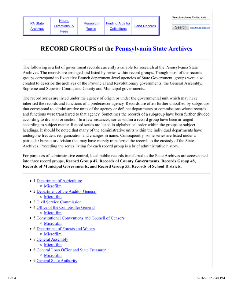 Record Group List Pennsylvania State Archives