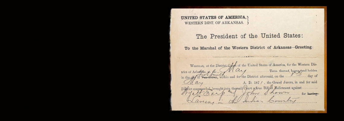1871 arrest warrant Wyatt Earp & John Shown